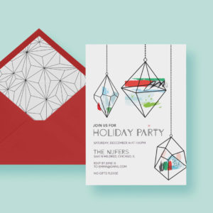 Abstract Geometric Ornamament Holiday Party Invitation— Invite Template—Christmas, Red & Green, Blue, Printable or Printed—FREE SHIPPING