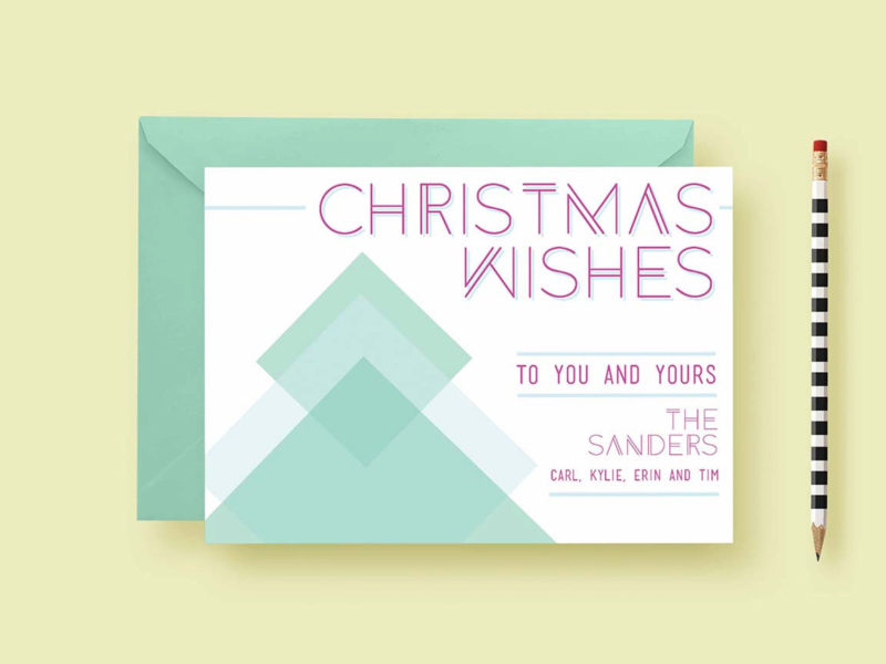 Geometric Christmas Custom Photo Cards | Letter Loft