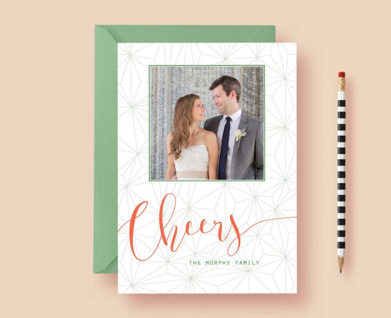 Geometric Modern Cheers Photo Cards - Custom Photo Christmas Cards, Christmas, Photo Holiday Cards - Printable or Printed, Free Shipping