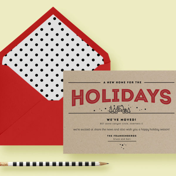 Kraft paper modern holiday moving card letter loft for Moving home cards template