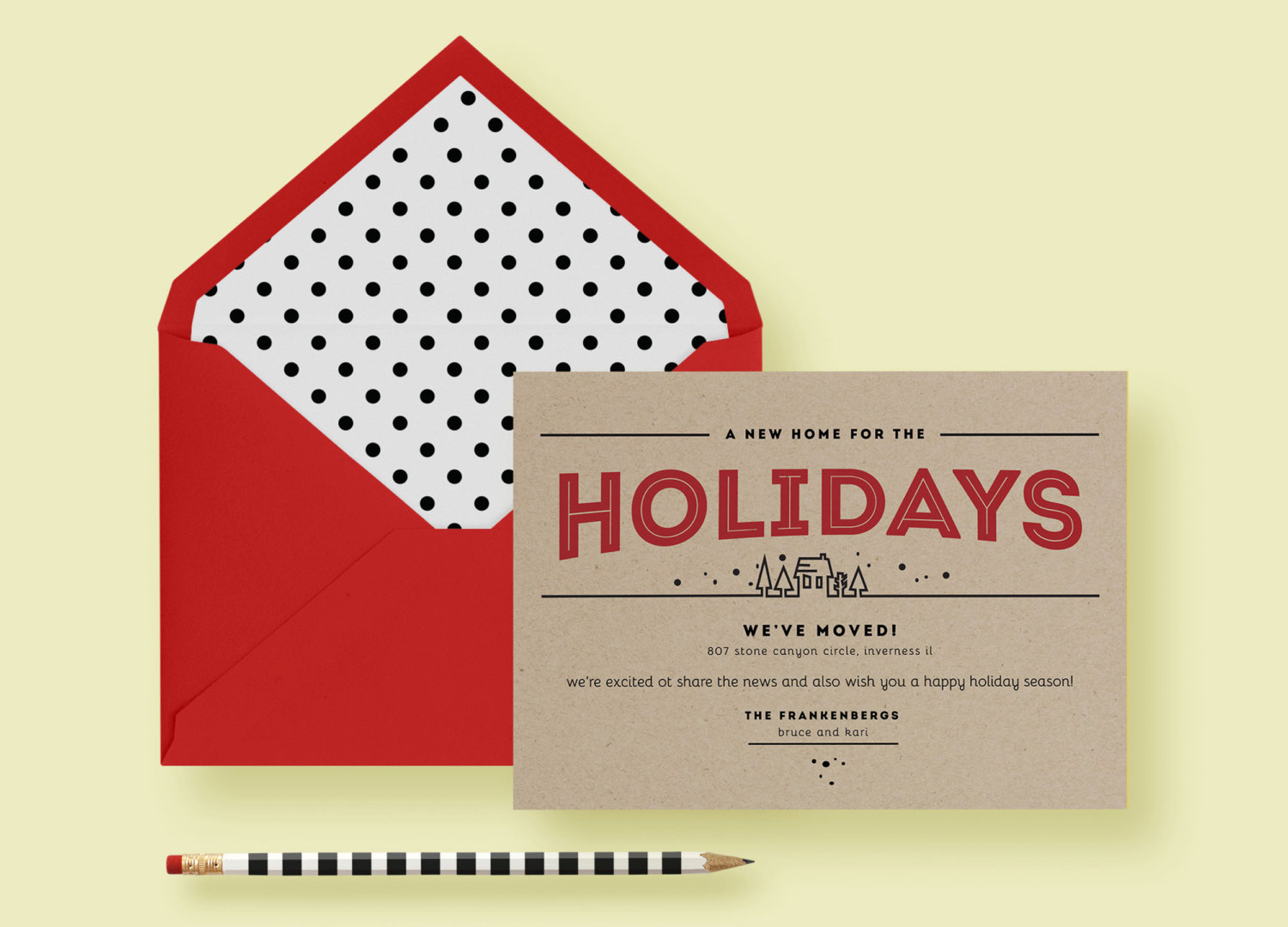 Kraft Paper Modern Holiday Moving Card—Invite Template—Christmas, Red & Black, A New Home, Polka Dot, Printable or Printed—FREE SHIPPING