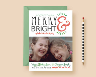 Merry & Bright Watercolor Custom Photo Cards - Custom Photo Christmas Cards - Christmas - Photo Holiday Cards - Printable or Printed!