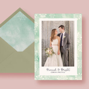 Mint Snowflake Watercolor Holiday Custom Photo Card, Christmas Card Template, Newlywed Married & Bright,  Printable + Printed, FREE SHIPPING