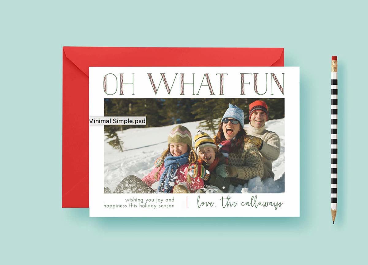 Modern Minimal Simple Christmas Custom Photo Cards, Christmas Card Template, Photo Holiday Cards, Printable or Printed, FREE SHIPPING