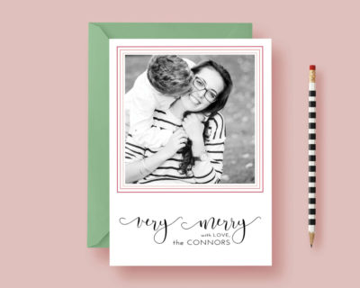 Modern Minimalist Printed Photo Christmas Card - Very Merry - Christmas Card - Photo Holiday Cards - Printable or Printed, FREE SHIPPING