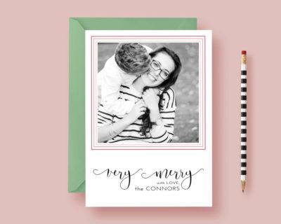 Modern Minimalist Printed Photo Christmas Card - Very Merry - Christmas Card - Photo Holiday Cards - Printable or Printed, FREE SHIPPING