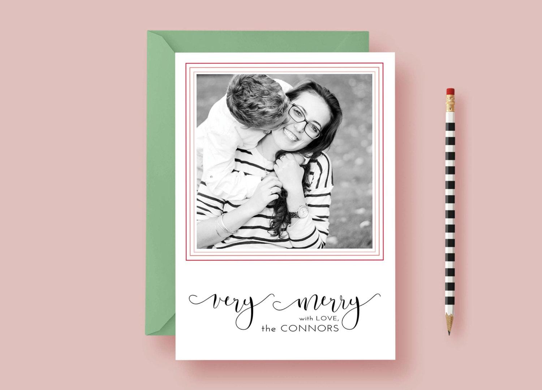 Modern minimalist printed photo christmas card letter loft for Minimalist christmas