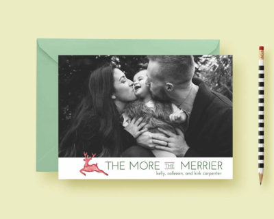 Modern Reindeer Holiday Custom Photo Cards, Holiday Card Template, Photo Holiday Cards, More The Merrier, Printable & Printed, FREE SHIPPING