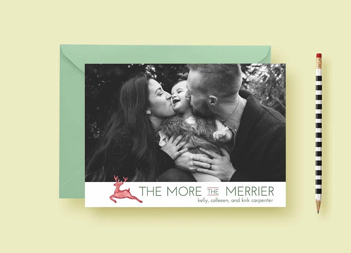 Modern Reindeer Holiday Custom Photo Cards, Holiday Card Template, Photo Holiday Cards, More The Merrier, Printable & Printed, FREE SHIPPING