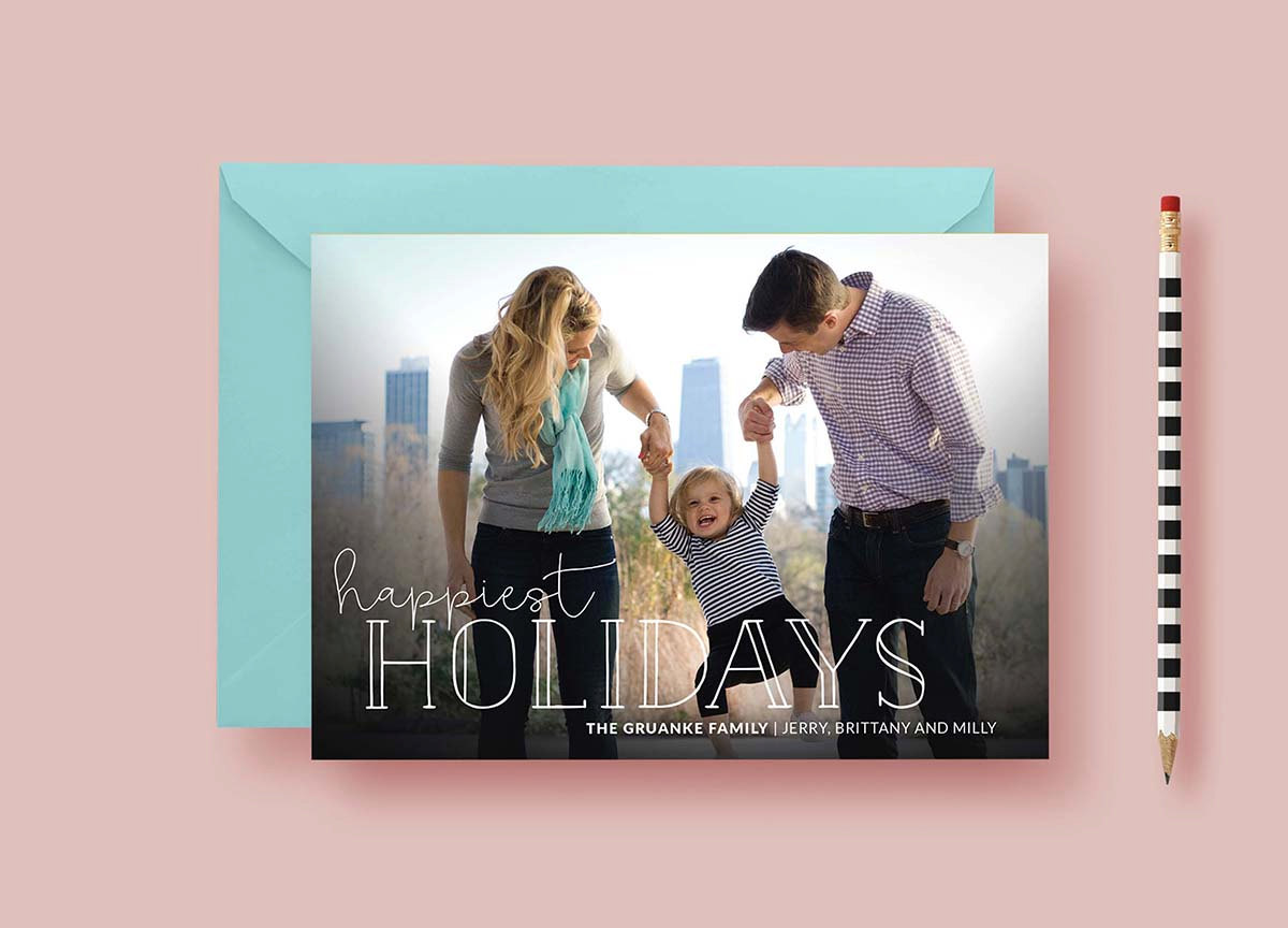 Modern Simple Happiest Holidays Custom Cards, Christmas Card Template, Photo Holiday Cards, Typography, Printable Printed, FREE SHIPPING