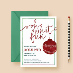 Oh What Fun Holiday Party Invitations, Christmas Party, Cocktail Party -  Watercolor, Ornament - Printable or Printed, FREE SHIPPING