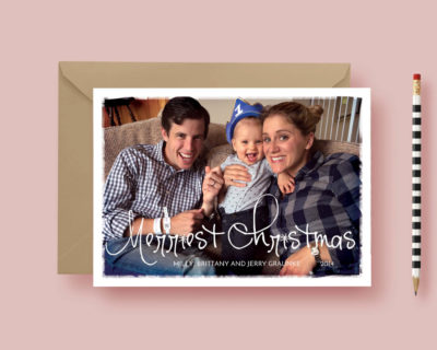 Painted Deconstructed Printed Photo Christmas Card - Modern Christmas Card - Photo Holiday Cards - Printable or Printed, FREE SHIPPING!