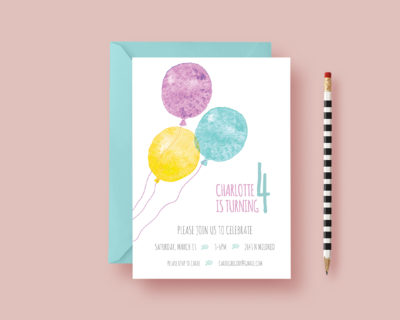 Kids Balloon Birthday Party Invitation