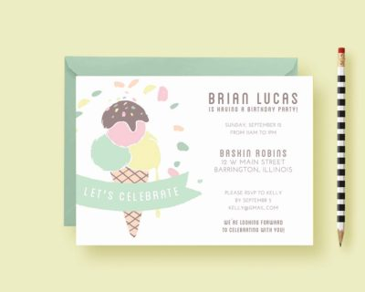 Ice Cream Themed Party Invite