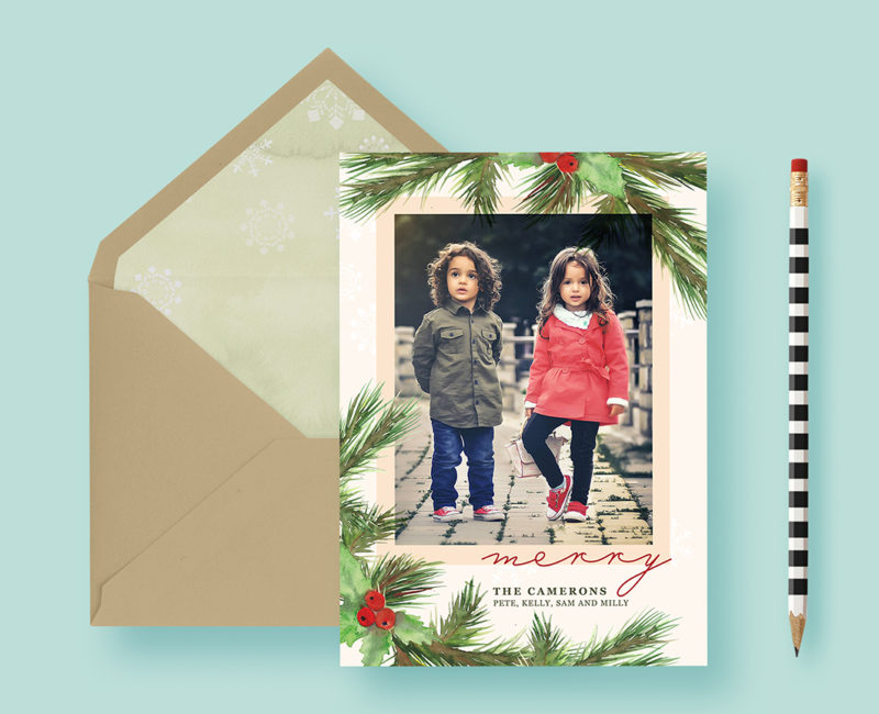 Classic Traditional Christmas Custom Photo Cards