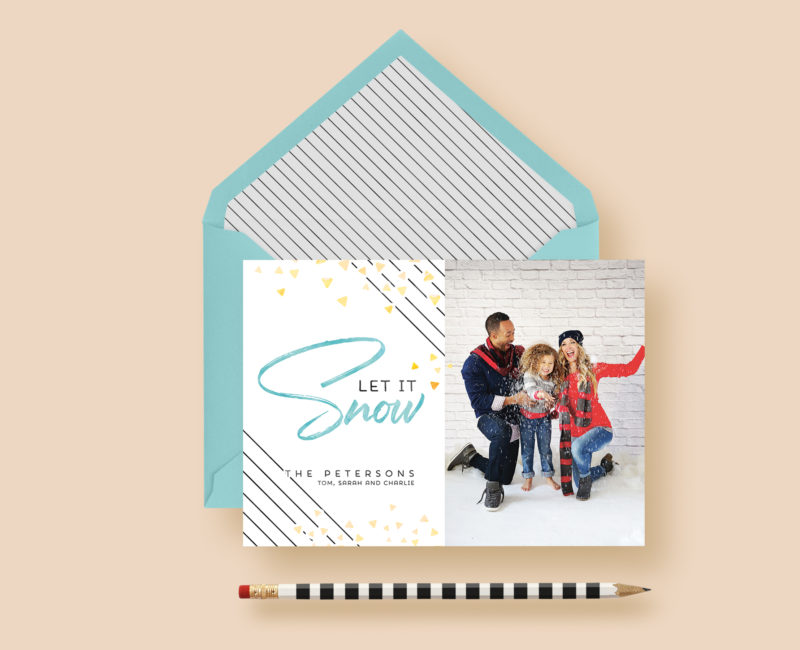 Let It Snow Modern Stripe Holiday Photo Cards
