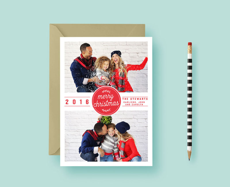 Modern Basic Two-Photo Christmas Stamp Card