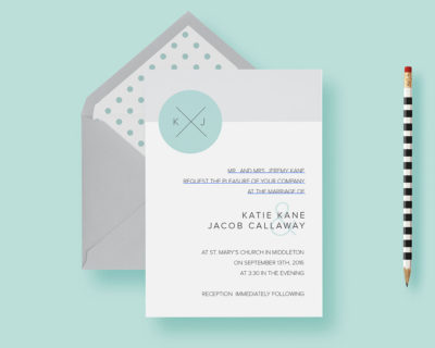 Modern Clean Simple Circle Monogram Wedding Invitation