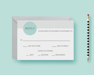 Clean Simple Modern Minimal Circles Wedding Reply Card