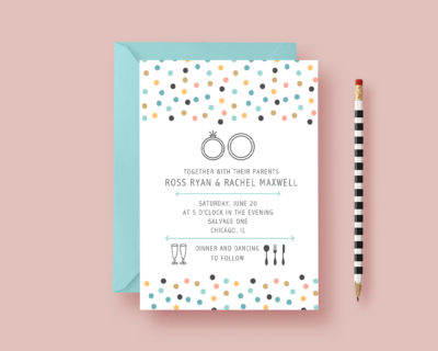 Stylish, Flat and Modern Polka Dot Wedding Invitation