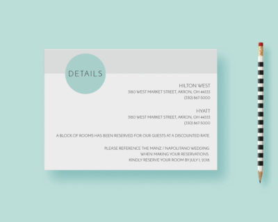 Clean Simple Modern Minimal Circles Reception Card, Day Of Details Card, Accomodations Card, Blue - Printable or Printed - FREE SHIPPING