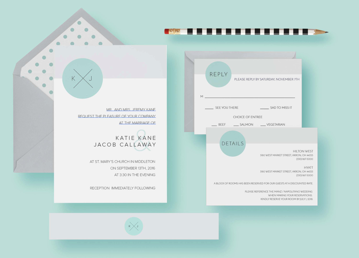 Modern Clean Simple Minimal Circle Invitations Set—Wedding Invite Template—Initial Simple, Typography, Printable or Printed—FREE SHIPPING