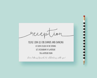 Modern Whimsical Simple Reception Card WEDDING