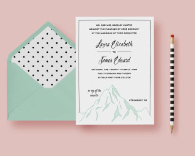 Simple Mountain Wedding Invitation—Typography Wedding Invite Template—Sage Green, Mountainside, Cliff, Printable or Printed - FREE SHIPPING
