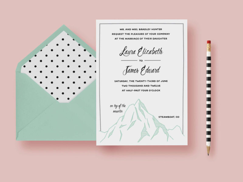Simple Mountain Wedding Invitation | Letter Loft